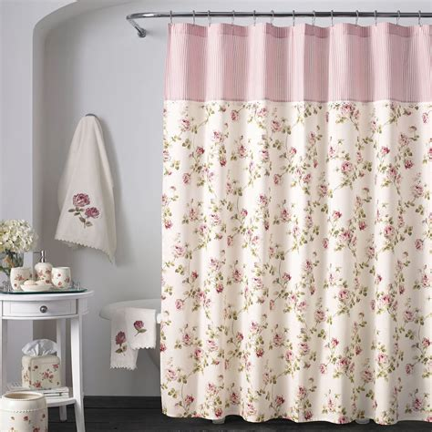 flower shower curtain rosalie pink floral shower curtain by piper wright