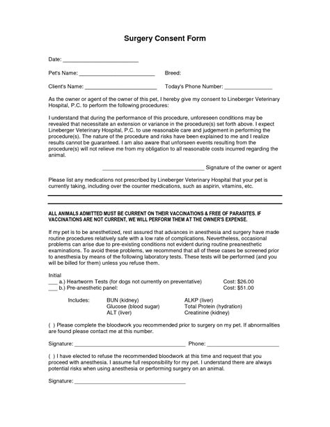 Surgery Consent Form Template best photos of procedure consent form template
