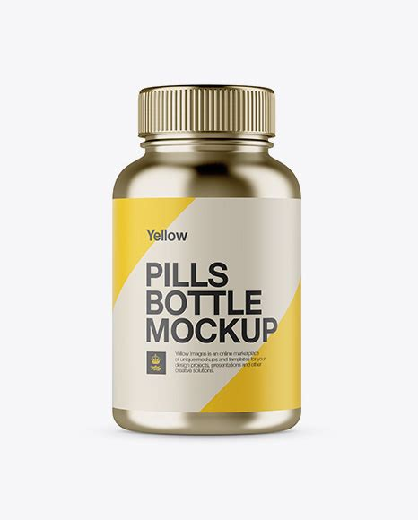 Present your awesome design on this mockup of triple plastic bottles for pills. Metallic Pills Bottle Mockup in Bottle Mockups on Yellow ...
