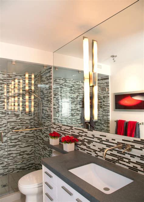 white modern bathroom  mosaic tile shower hgtv