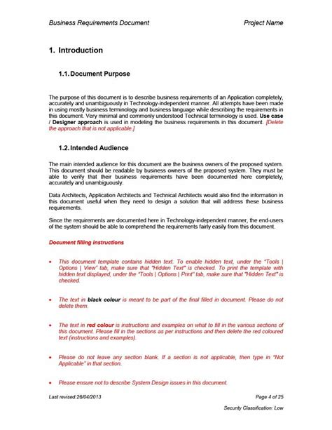document template 40 simple business requirements document templates template lab