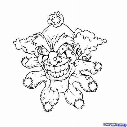 Scary Draw Clowns Step Clown Coloring Pages