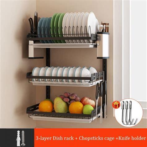 wall dish rack stainless steel home storage plate holder shelf  drainer tray walmartcom