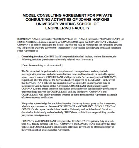 consulting services agreement template 10 sle free consulting agreement templates sle templates