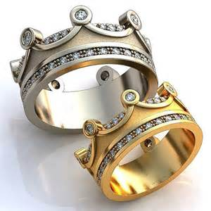 matching wedding rings his and hers crown wedding bands crown mens band crown womens by worldofgold