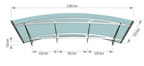 arched stainless steel  acrylic glass canopy technical drawings