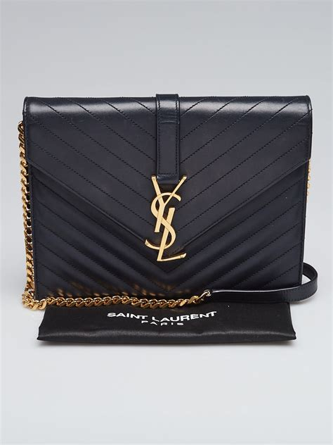yves saint laurent blue chevron quilted lambskin leather