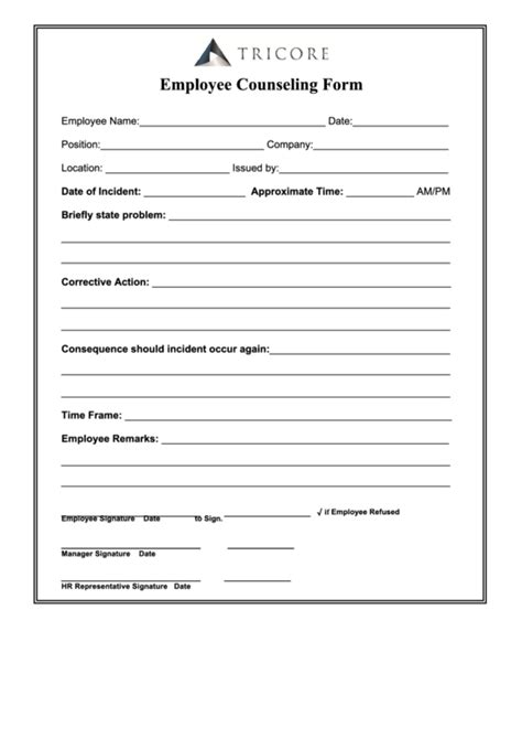employee counseling form printable
