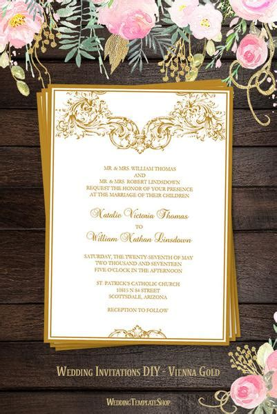vienna wedding invitation gold wedding template shop