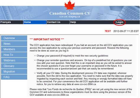 how to use the canadian common cv ccv
