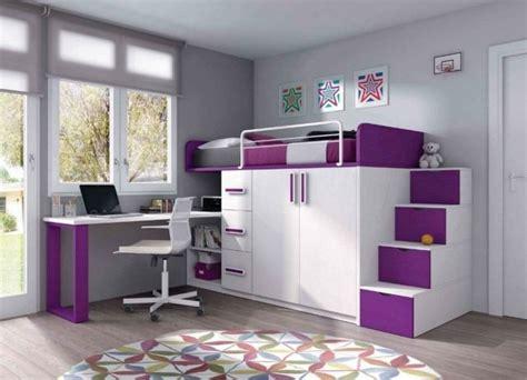 lit mezzanine fille avec bureau mobilier chambre enfant 100 idées cool pour vous inspirer