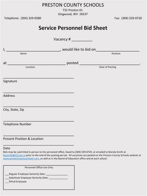bid sheet templates  examples word excel