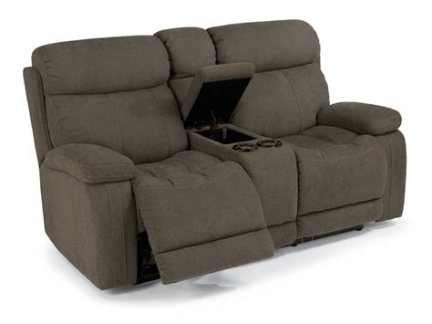 Flexsteel Power Reclining Loveseat by Flexsteel Living Room Fabric Power Reclining Loveseat With