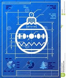Christmas Tree Ball Symbol Like Blueprint Drawing Stock