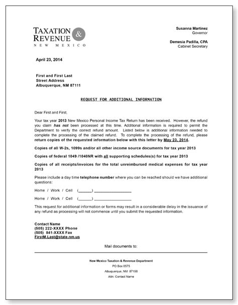 mexico request  additional information letter