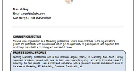 Mba Marketing Resume Format Doc by 10000 Cv And Resume Sles With Free Mba