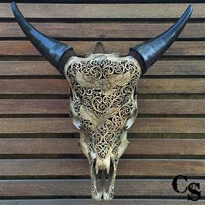 Carved Bull Cow Skull with Eagle Design – Antique Carved
