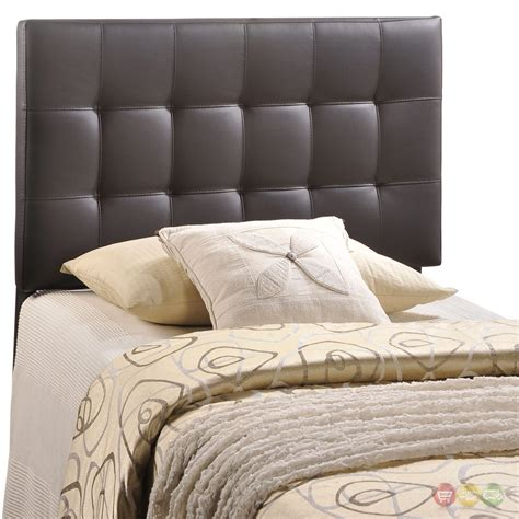 Lily Contemporary Vinyl Button Tufted Twin Headboard Brown