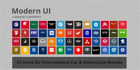 Modern Ui 52 Icons For Car And Motorcycle Brands By