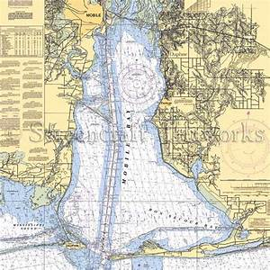 Alabama - Daphne, Mobile, Mobile Bay / Nautical Chart Decor