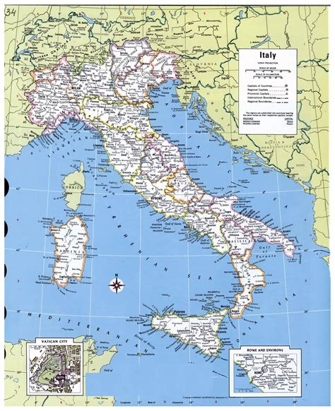 large detailed political  administrative map  italy