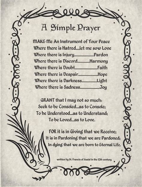 st francis of assisi peace prayer a simple prayer for peace by st francis of assisi on parchment painting by desiderata gallery