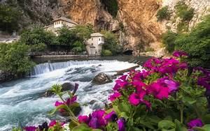 Blagaj, Tekija, Beautiful, Monastery, Spring, On, The, River, Buna, Bosnia, Herzegovina, 4k, Ultra, Hd