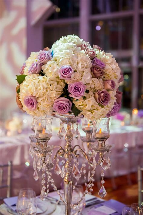 Lavender Rose And White Hydrangea Candelabra