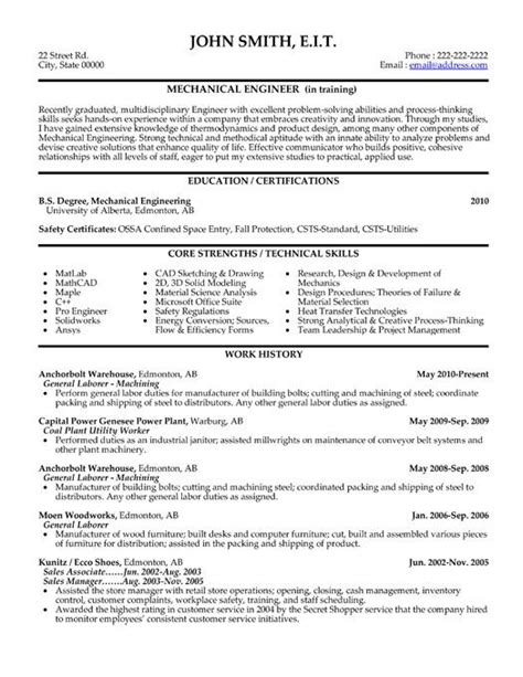 click     mechanical engineer resume