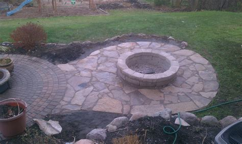 flagstone pit patio flagstone patio with fire pit connected to brick paver patio fire pits pinterest brick
