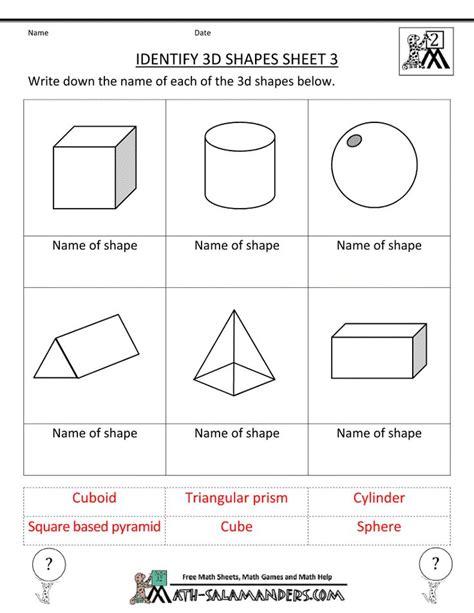 27 best 3d shape worksheets images on 4th