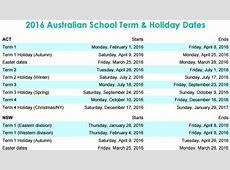 School term and school holiday dates 2017