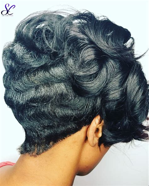 big curls  small waves salon cass hair  shaunda short hairstyle  black women big
