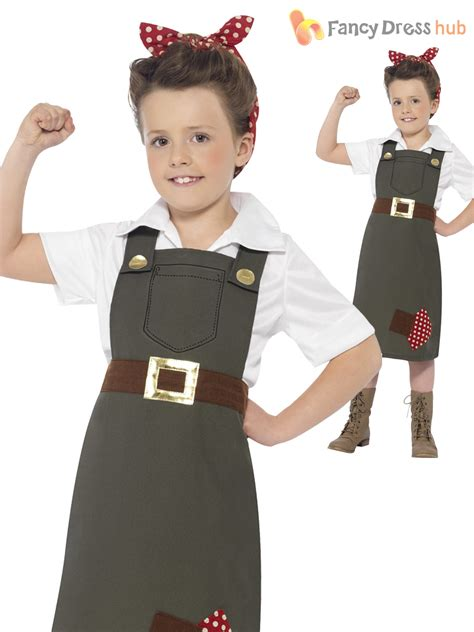 Girls 1940s WW2 Land Girl Munitions Costume World War Two VE Day Fancy Dres | eBay