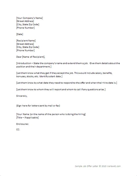job offer letter template  word