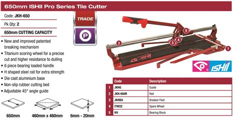 Tile Cutting Tools Perth by Ishii Pro Tile Cutter 650mm Tile Paver