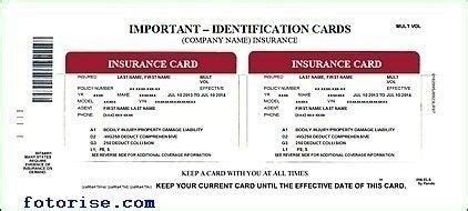 auto insurance card template   ideal vistalist