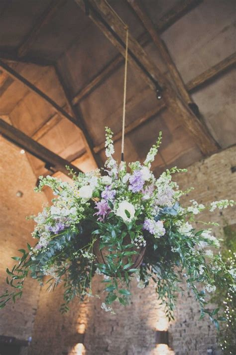 large hanging arrangement  cripps barn summer wedding