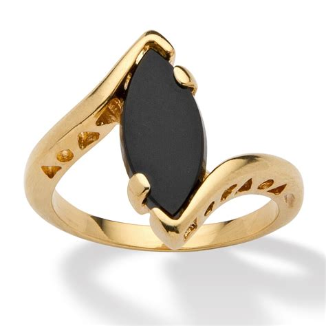 marquise shaped genuine onyx  yellow gold plated bypass