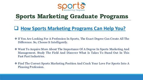 marketing masters programs get the best sports marketing degree to make a bright