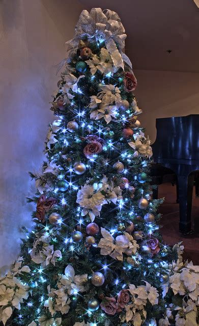 silver purple  blue themed christmas tree  led ligh