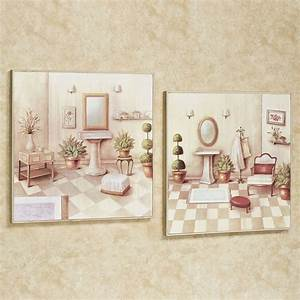 Soothing retreat bathroom scene wall art set for Wall plaques for bathroom