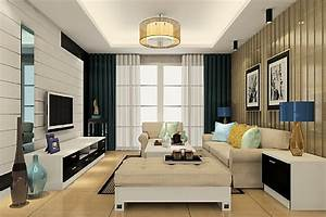 Table lamps and ceiling lights in living room