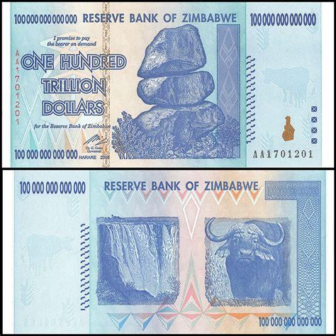 zimbabwe  trillion dollars aa  p  unc  trillion series ebay