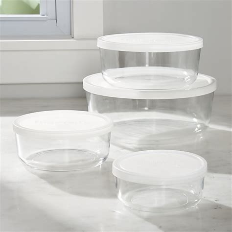 glass bowls with lids 4 storage bowl set crate and barrel 3764