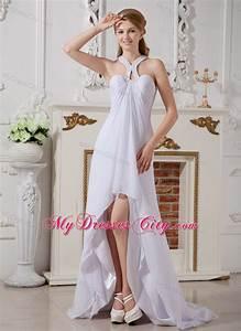 high low empire chiffon halter top beading wedding dress With high low halter wedding dress