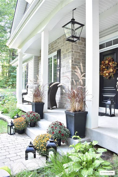 elegant front porch decorated  fall  home