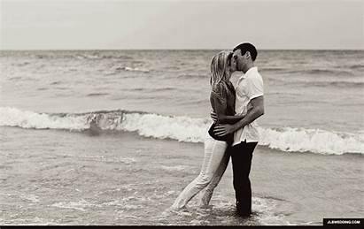 Beach Lake Sand Engagement Kissing Gifs Water
