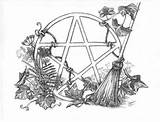 Coloring Wiccan Pages Pagan Pentagram Witch Adult Pentacle Printable Rede Sketch Colouring Witches God Tattoos Tattoo Halloween Shadows Recipes Witchcraft sketch template