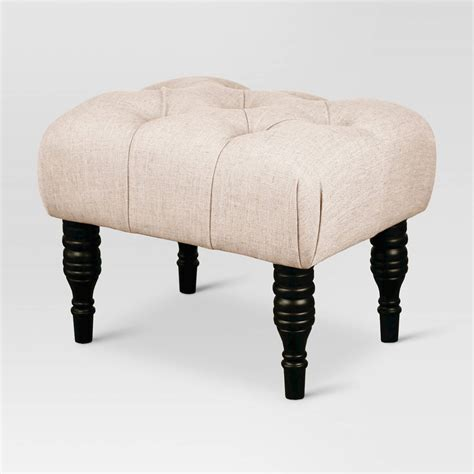 small ottomans and footstools small tufted turned leg ottoman threshold ebay